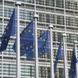 Stock Photo: Europeflags in front of EU commission headquarters in Brussels