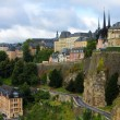 View from the Casemates on old Luxembourg City - Stock Photo