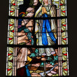 Stained glass window in the Cathedral of Luxembourg - Stock Photo