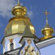 Golden towers of Orthodox church in Kiev, Ukraine -  