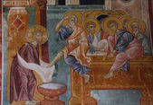 Fresco depicting Washing of feet at Last Supper — Stock Photo