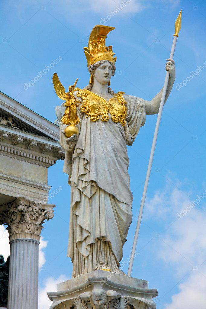 Statue of Pallas Athena in front of the Austrian Parliament in Vienna — Stock Photo #4191440