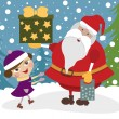 Girl with Santa Clause — Stock Vector