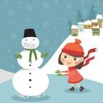 Girl skates with snowman — Stock Vector #4244738