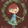 Royalty-Free Stock Vector Image: Girl holding wreaths