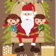 Santa Claus with kids — Stock Vector