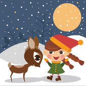 Girl with the reindeer — Stock Vector