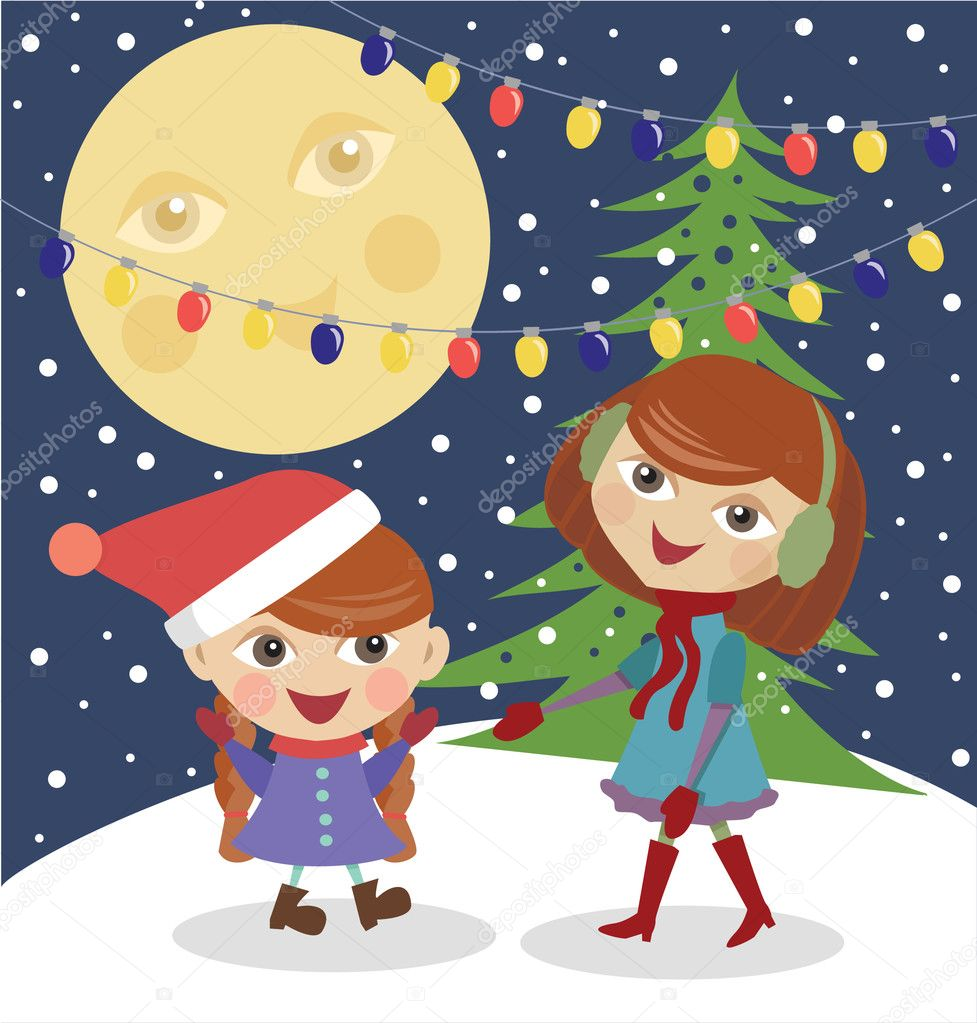 Mum with a daughter on Christmas eve — Stock Vector #4244712
