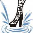 Fashion boot of a girl in splashes — Stock Vector