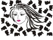 Vector face of a beautiful woman and mans — Stock vektor