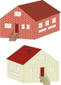 Brick small house isolated — Stockvector