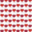 """Red valentines background with hearts and words """"with love"""" — Stock Vector"""