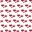 Red valentines background with hearts — Stock Vector