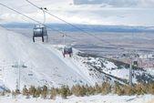 Sky lift car in snow mountains in Turkey Palandoken Erzurum — Stock Photo