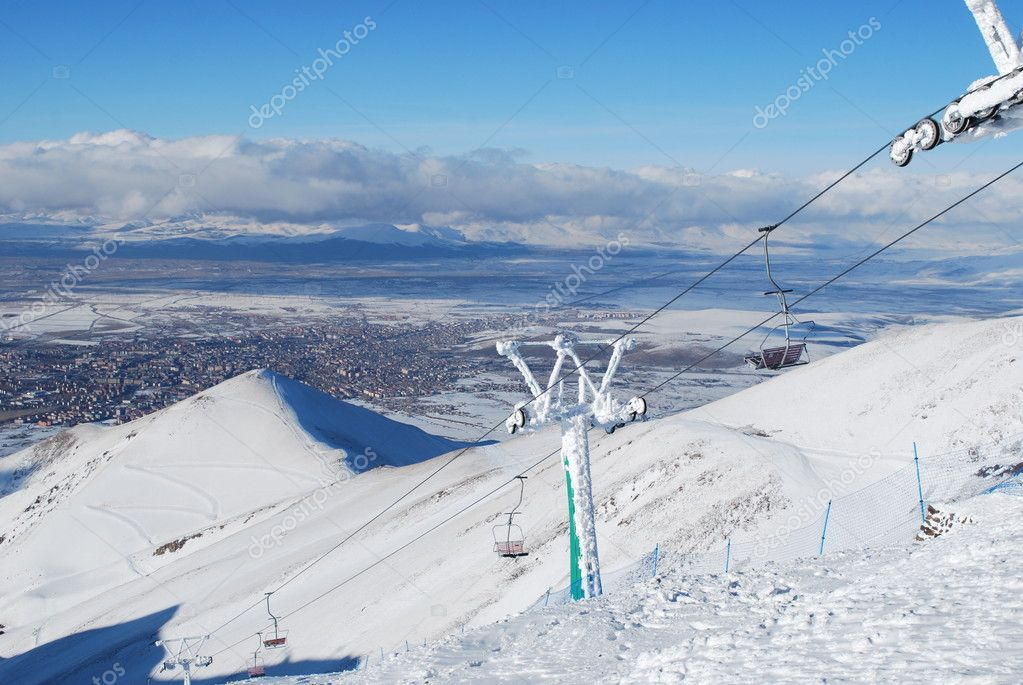 Ski Resort chair lift in Turkey Mountains.Palandoken — Stock Photo #4537953