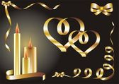Valentines background with hearts and candles — Vector de stock