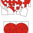 Stock Vector: Valentine heart puzzle