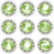 Royalty-Free Stock Vector Image: Green web glossy button  or icon  with wave