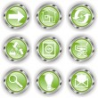 Stock Vector: Green web glossy button or icon with wave