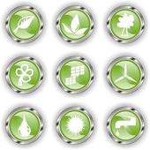 Green web glossy button or icon with wave — Stock Vector