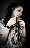 Sight, gesture, beads, mysteriousnesspeople, female, hair, eleg — Stock Photo