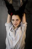 Sight, gesture, impudent, expressional , female, hair, ele — Stock Photo