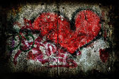 Love, heart wall; brick; dirty; backgrounds; — Stock Photo