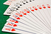 Fan of Cards, with hearts in focus — Stock Photo