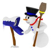 Улыбаясь снеговика с почтовым ящиком — Стоковое фото