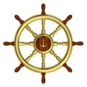 Golden nautical wheel isolated — Stock Photo