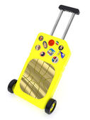 SIM Card represented as a luggage (roaming concept) — Stock Photo