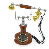 Old style telephone with lifted up receiver — Stock Photo