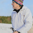 Nordic Walking in the snow — Stock Photo