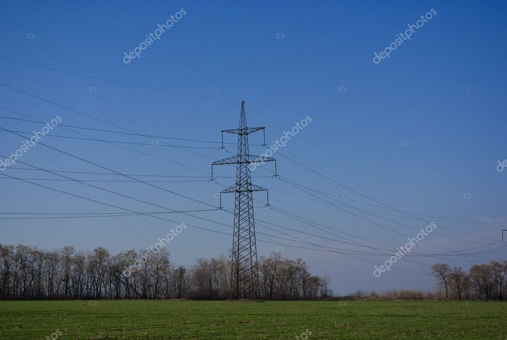 The high volt line on field — Stock Photo #4255758