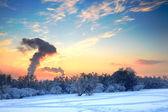 Idyllic winter landscape spoiled by factory smoke — Stock Photo