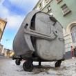 Old rusty trash can in a dirty city street — Stock Photo #4746543