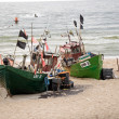 Three fishing boats on the beach — Stock Photo