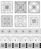 Ethnic ornament monochrome set — Stock Vector