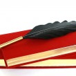Red book, bottle of ink  and quill isolated on white — Stock Photo #5029717