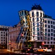 Night view of dancing house in Prague — Stock Photo