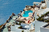 The hotel view on Santorini — Stock Photo
