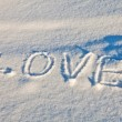 "Sign ""Love"" on the snow — Stock Photo"