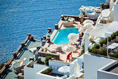 The hotel on Santorini — Stock Photo