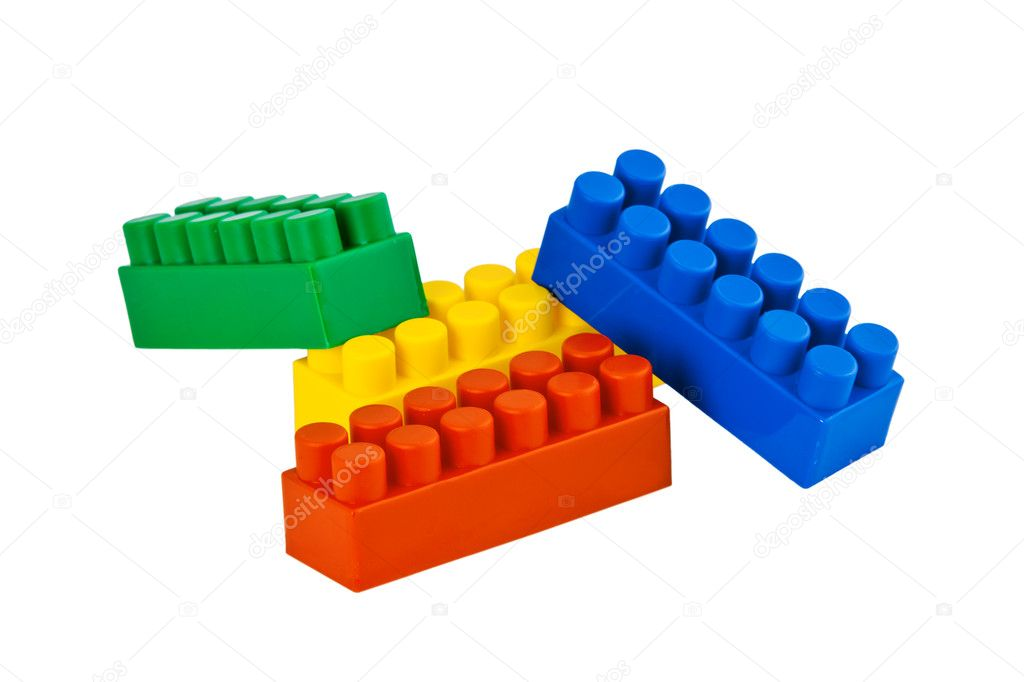 Colorful lego blocks isolated on white background — Stock Photo #5042401