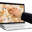 Taking money out of the screen — Stock Photo