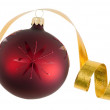 Royalty-Free Stock Photo: Isolated Christmas bauble and ribbon