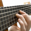 Foto Stock: Guitar player's left hand