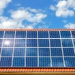 Solar panel on a roof - Stockfoto