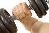 Dumbbell workout — Stock Photo