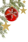 Christmas border with white copyspace — Stock Photo